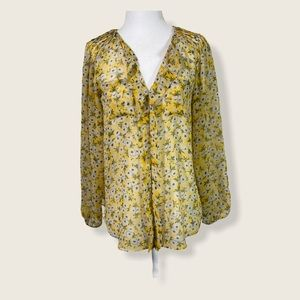 Rebecca Taylor Sheer Floral Blouse Yellow 2